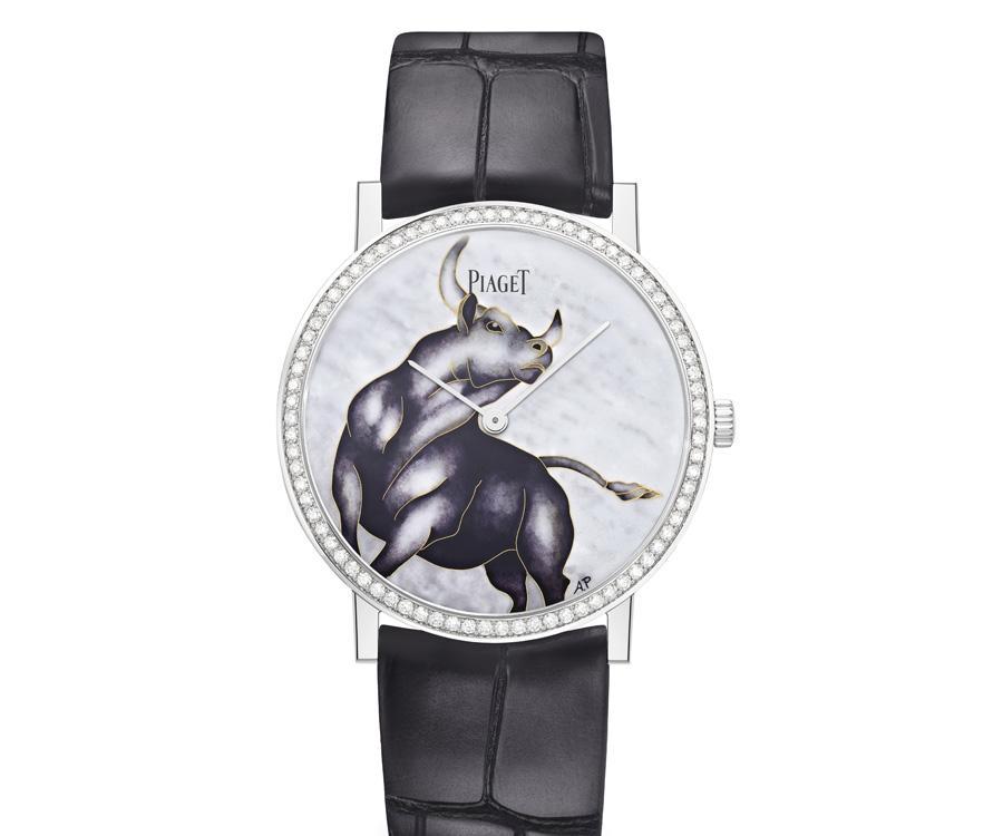 琺瑯彩繪慶牛年 伯爵生肖掐絲琺瑯超薄腕錶