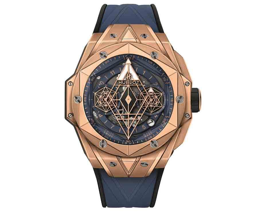 HUBLOT Big Bang Sang Bleu II 墨藍計時碼錶皇金款