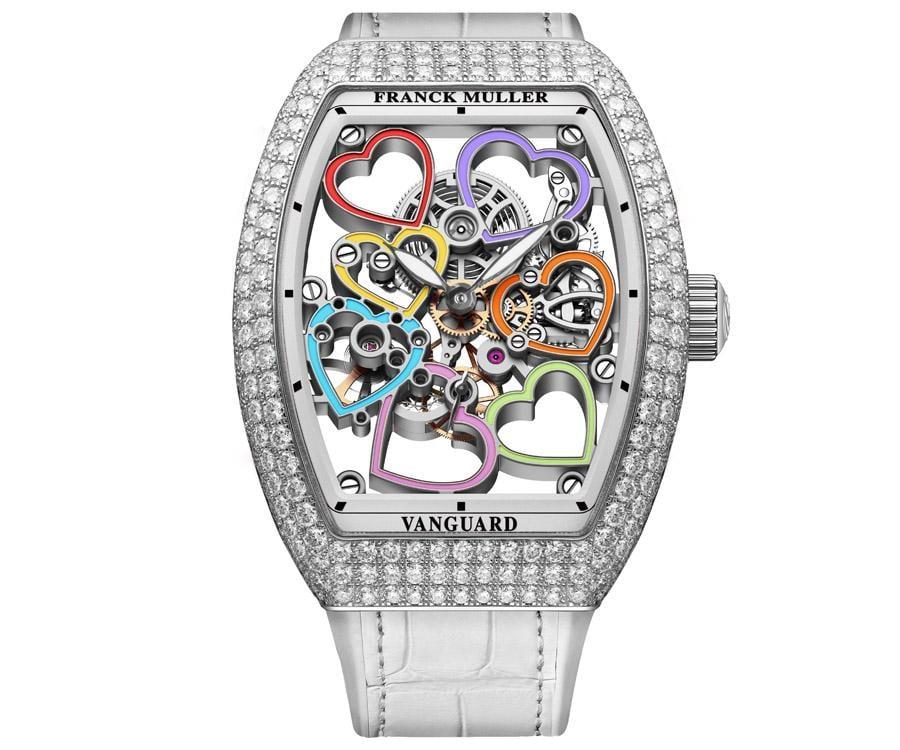 FRANCK MULLER Vanguard Heart彩色數字鏤空鑽錶