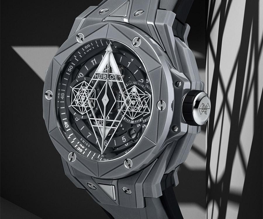 Big Bang Sang Bleu II 亮彩陶瓷計時碼錶灰色陶瓷款