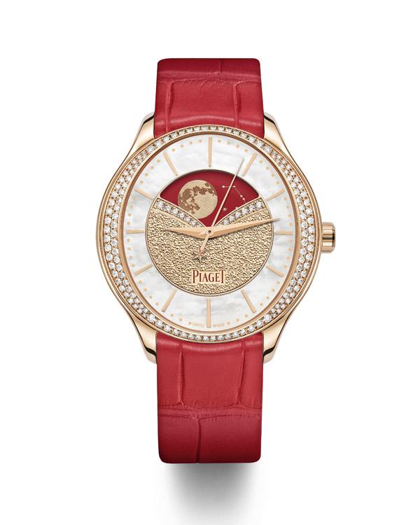 PIAGET Limelight Stella系列月相顯示18K玫瑰金鑲鑽自動上鍊腕錶。