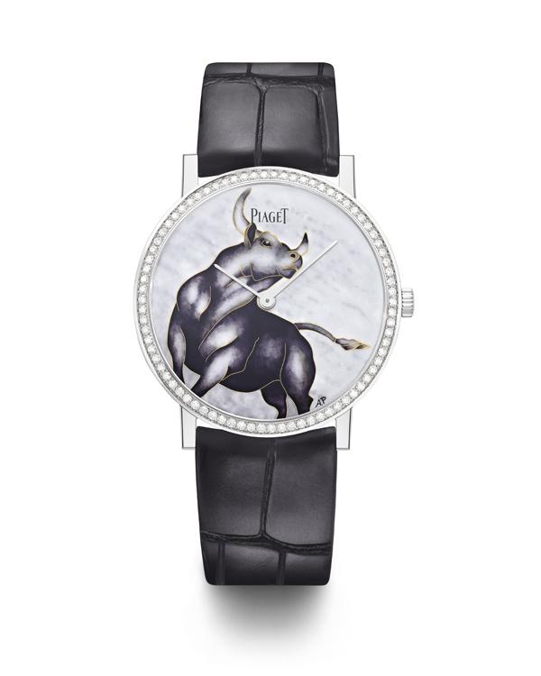 PIAGET Altiplano牛年生肖掐絲琺瑯工藝錶盤超薄38毫米手動上鍊腕錶。