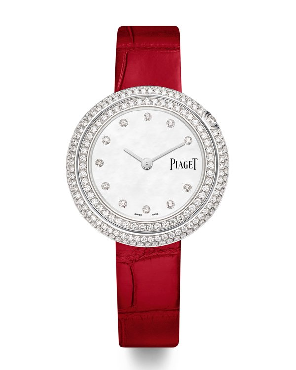 PIAGET Possession系列18K白金珍珠母貝錶盤鑽石腕錶,34毫米。