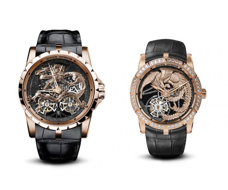 (左款) ROGER DUBUIS Excalibur飛龍鏤空飛行陀飛輪腕錶,型號:DBEX0901/直徑45mm,玫瑰金錶殼/時間指示/RD01SQ型手動上鍊機芯,動力儲存50小時/防眩目藍寶石水晶錶面/防水30米/限量8只。  (右款) ROGER DUBUIS Excalibur舞鳳鏤空飛行陀飛輪腕錶,型號:DBEX0902/直徑36mm,玫瑰金錶殼/時間指示/RD510SQ型手動上鍊機芯,動力儲存60小時/防眩目藍寶石水晶錶面/防水50米/限量8只。