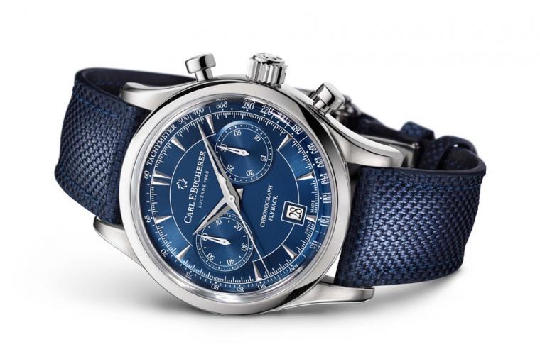 寶齊萊Manero Flyback織物錶帶款。型號:00.10919.08.53.01/直徑43mm不鏽鋼錶殼/時間指示、飛返計時碼錶、日期窗、測速計/CFB 1970 自動上鍊機芯,動力儲存42小時/防水30米