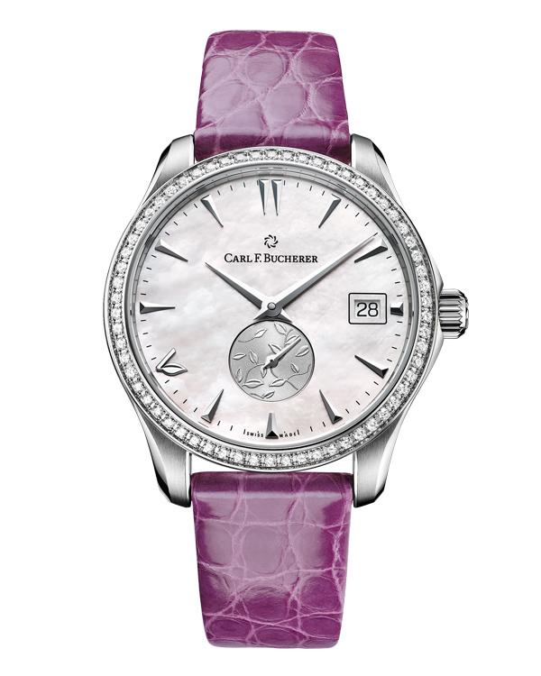 寶齊萊馬利龍自動日曆LOVE腕錶,型號:00.10922.08.73.11/直徑35.5mm精鋼錶殼鑲62顆鑽石/時間指示、日期窗/CFB 1971型自動上鍊機芯,動力儲存42小時/藍寶石水晶鏡面/防水30米