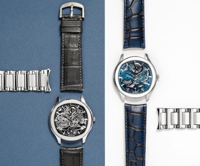 PIAGET Polo系列伯爵藍及岩石灰鏤空超薄精鋼腕錶,搭配快拆錶帶功能。