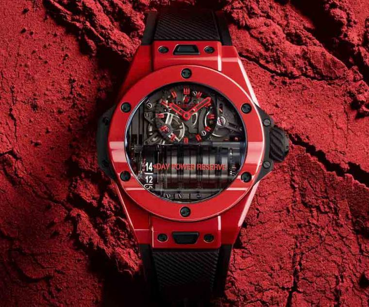 宇舶HUBLOT Big Bang Mp-11 魔力紅陶瓷腕錶,型號:911.CF.0113.RX/直徑45mm,拋光紅色陶瓷錶殼/時間指示、動力儲存顯示/自製HUB9011型手動上鏈鏤空機芯,動力儲存14日/藍寶石水晶鏡面/防水30米/全球限量100 只