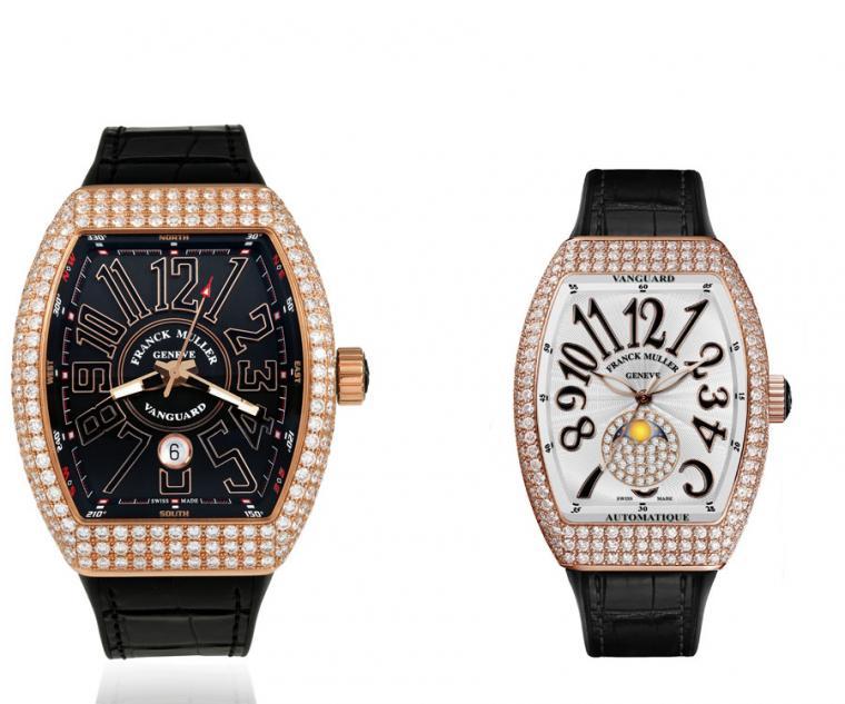 FRANCK MULLER V45 Vanguard大三針日曆玫瑰金鑽錶(左),及V32 Vanguard Lady Moonphase玫瑰金鑽錶(右)。