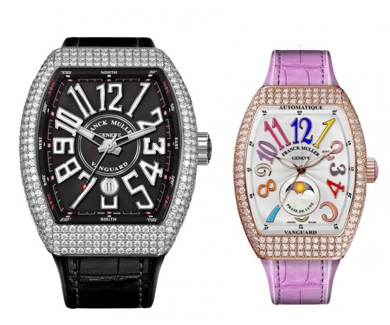 FRANCK MULLER V45 Vanguard大三針日曆白K金鑽錶(左),FRANCK MULLER V32 Vanguard Lady Moonphase彩色數字玫瑰金鑽錶(右)。