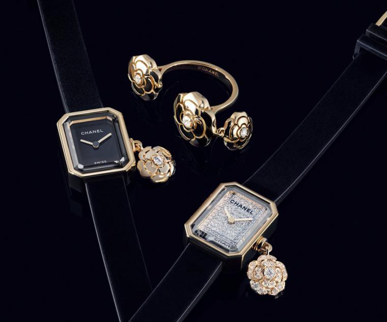 香奈兒CHANEL Première Extrait de Camélia腕錶/尺寸19.7mm x 15.2mm x 7.5mm,18K黃金錶殼搭配鈦金屬錶背/時間指示/高精準石英機芯/防水30米/各限量發行1000只